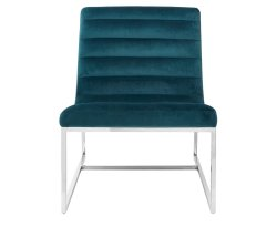 Keni Teal Velvet Curved Accent Chair
