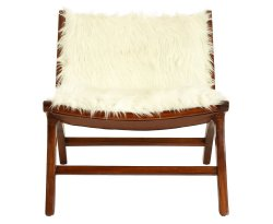 Sabin Wooden Angled Faux Fur Chair