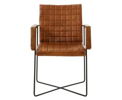 Vekone Brown Buffalo Leather Weave Chair
