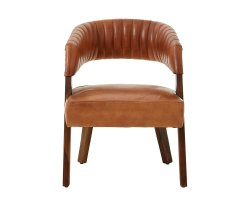 Voby Light Brown Buffalo Leather Accent Chair
