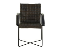 Vekone Grey Buffalo Leather Weave Chair