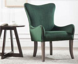 Ellie Green Velvet Accent Chair
