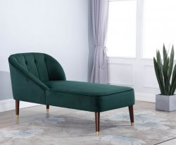 Forest Green Velvet Chaise Lounge