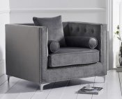 Mayfair Grey Velvet Upholstered Armchair