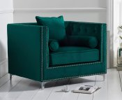 Mayfair Green Velvet Upholstered Armchair