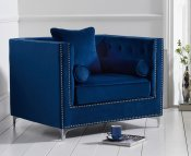 Mayfair Blue Velvet Upholstered Armchair