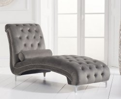 Mayfair Grey Velvet Upholstered Chaise Longue