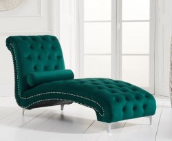 Mayfair Green Velvet Upholstered Chaise Longue