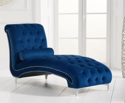 Mayfair Blue Velvet Upholstered Chaise Longue