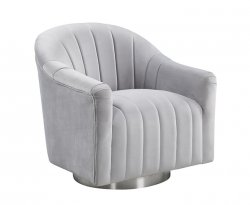 Harriet Silver Velvet Swivel Tub Chair