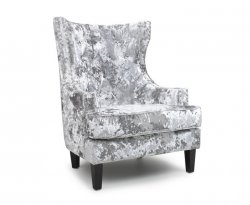 Princess Silver Crushed Velvet Fireside Chair