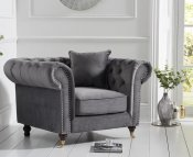 Clara Grey Velvet Club Chair