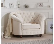 Carly Ivory Linen Club Chair
