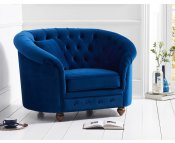 Carly Blue Velvet Club Chair