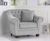 Lauren Grey Plush Arm Chair