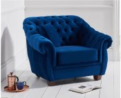 Lauren Blue Velvet Arm Chair