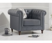 Monti Grey Leather Arm Chair