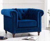 Monti Blue Velvet Arm Chair