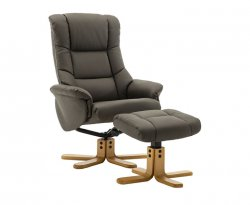 Avondale Faux Leather Swivel Recliner Chair & Stool