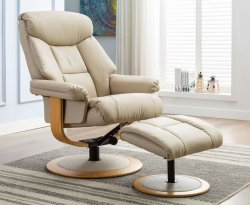 Parnell Faux Leather Swivel Recliner Chair & Stool