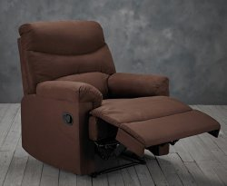 Regent Brown Faux Suede Manual Recliner Chair