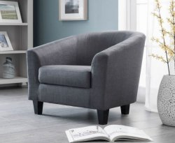 Angus Slate Grey Linen Tub Chair
