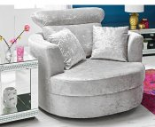 Jamie Large Silver Upholstered Snuggle Chair
