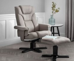 Malmo Grey Linen Recliner Chair with Footstool