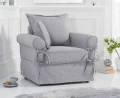 Cecilia Grey Linen Upholstered Arm Chair