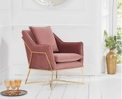 Bounty Blush Velvet Upholstered Accent Chair