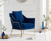 Bounty Blue Velvet Upholstered Accent Chair