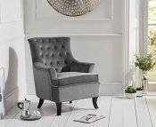 Brazil Grey Velvet Upholstered Accent Chair