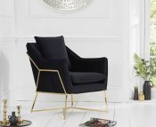 Bounty Black Velvet Upholstered Accent Chair