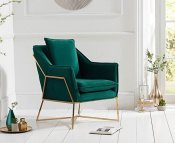 Bounty Green Velvet Upholstered Accent Chair