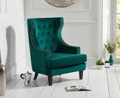 Eduardo Green Velvet Upholstered Accent Chair