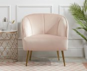 Italia Pink Velvet Upholstered Arm Chair