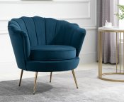 Eric Blue Fabric Upholstered Arm Chair